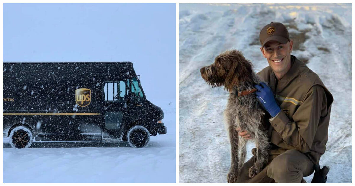 UPS driver braves icy cold waters to rescue a drowning dog
