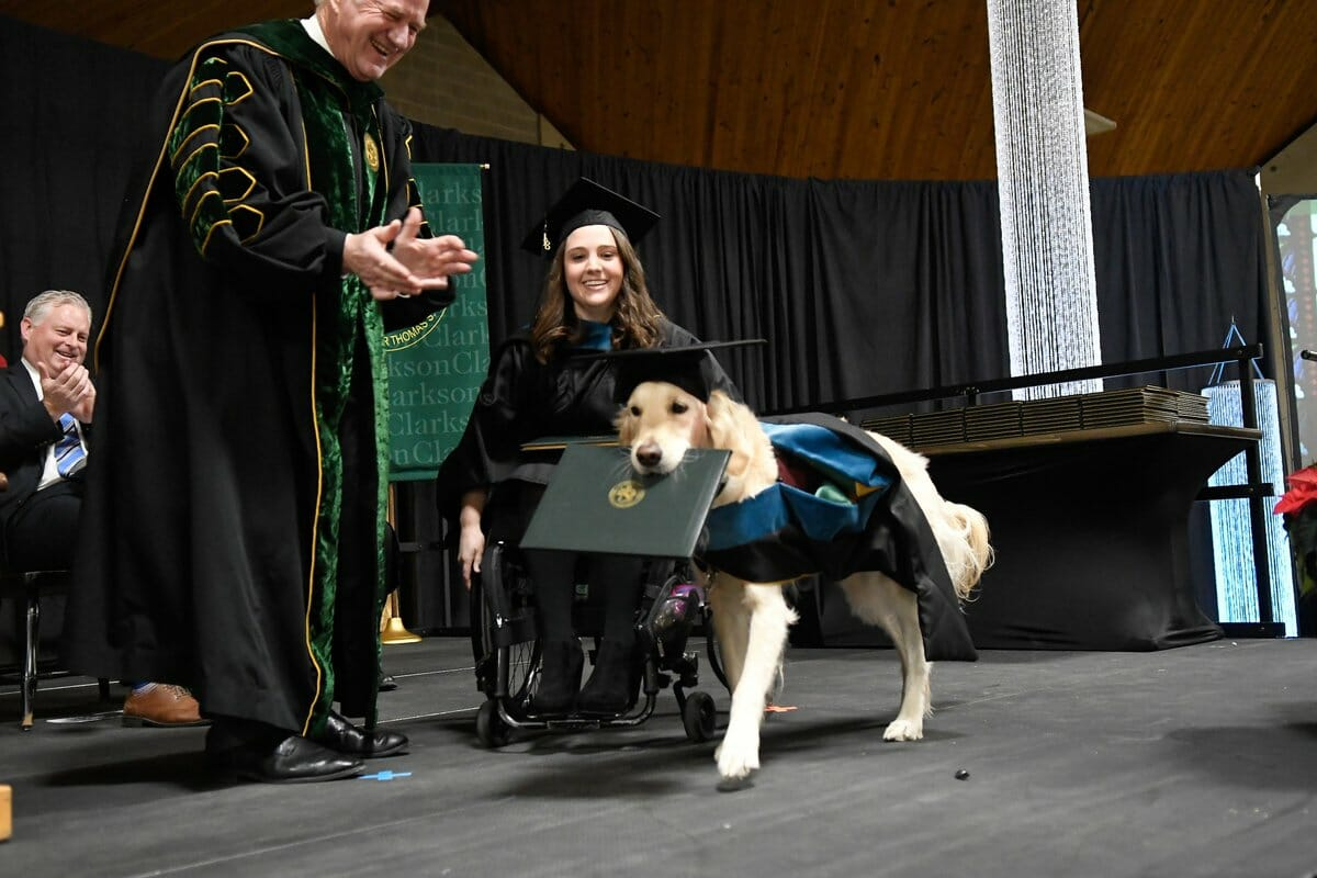 Service dog got his owner through grad school, so the university gave him his own degree